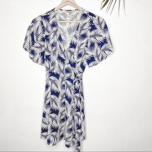 Forever 21 Tropical Blue and White Wrap Dress